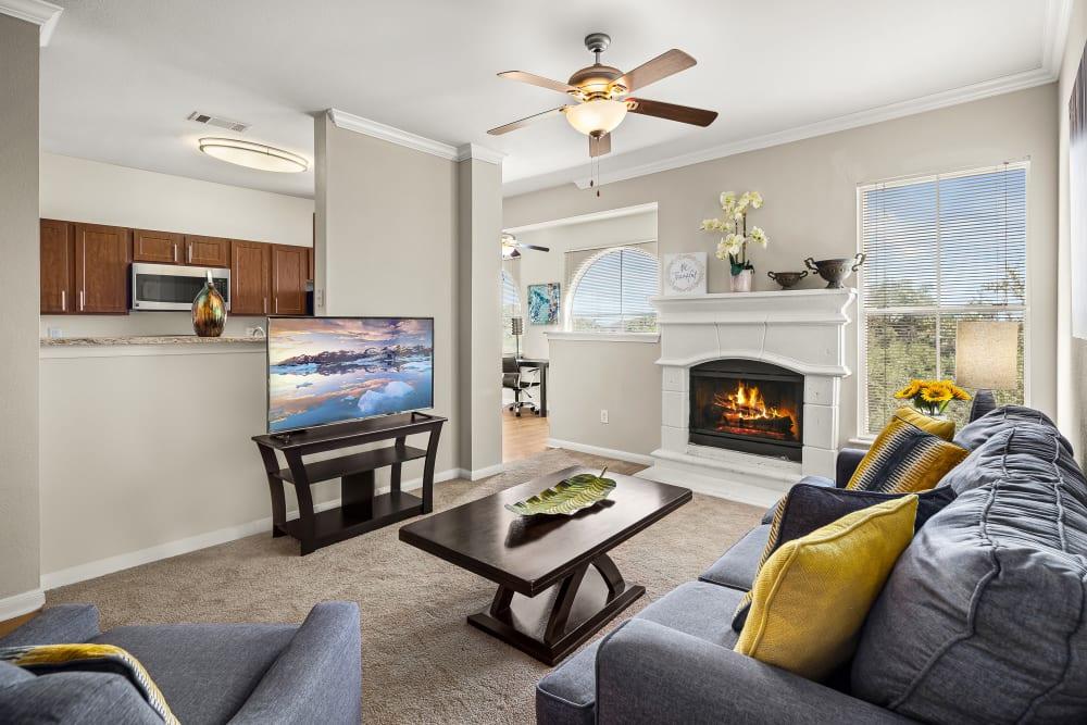 Beautiful Living Room at Sedona Ranch Apartments in San Antonio, Texas