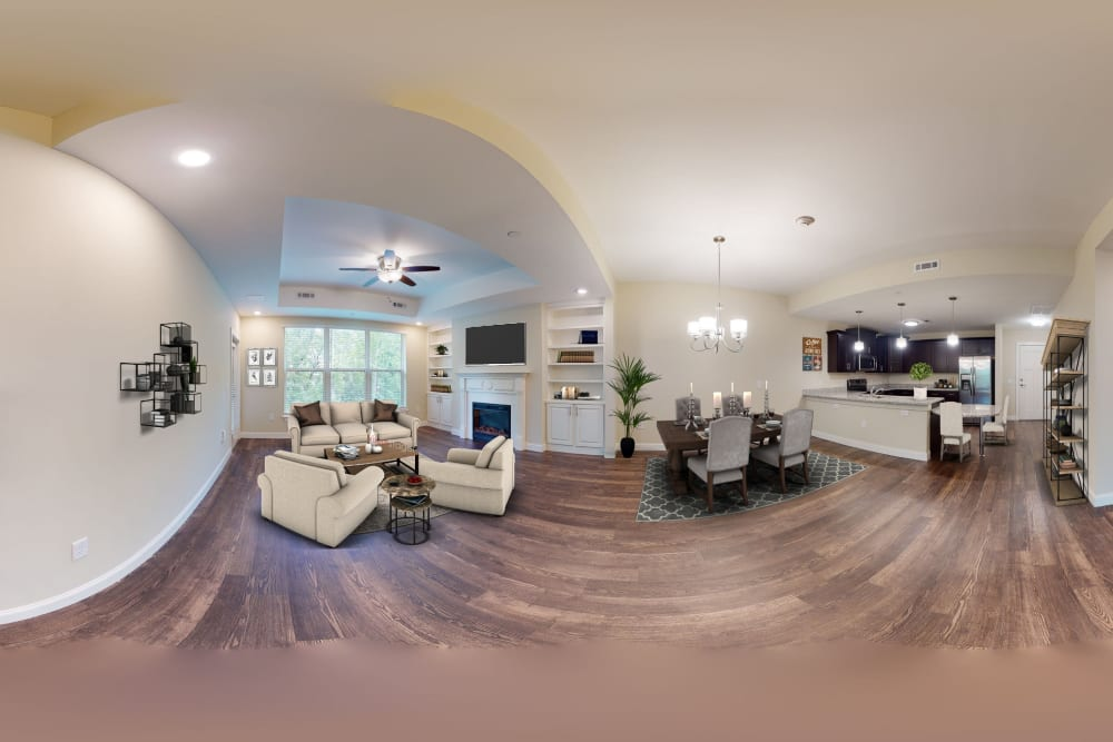 Interior panorama of living space and dining room at Celebration Village Forsyth in Suwanee, Georgia
