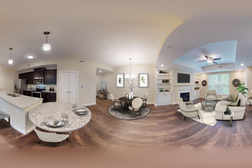 Interior panorama of kitchen and living room at Celebration Village Forsyth in Suwanee, Georgia