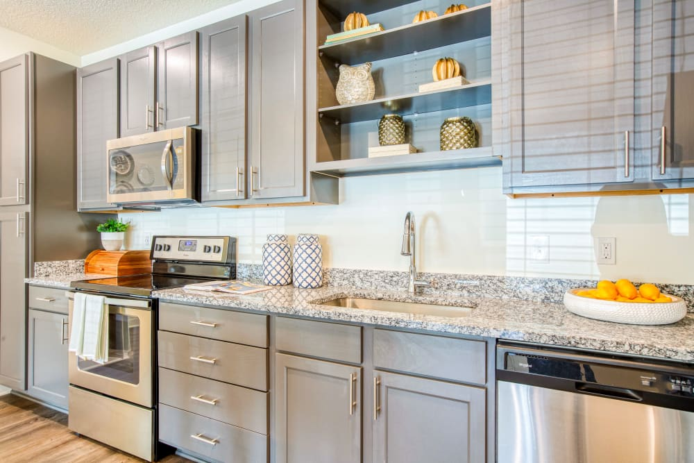 Fully equipped kitchen with stainless steel appliances at Springfield Apartments in Murfreesboro, TN
