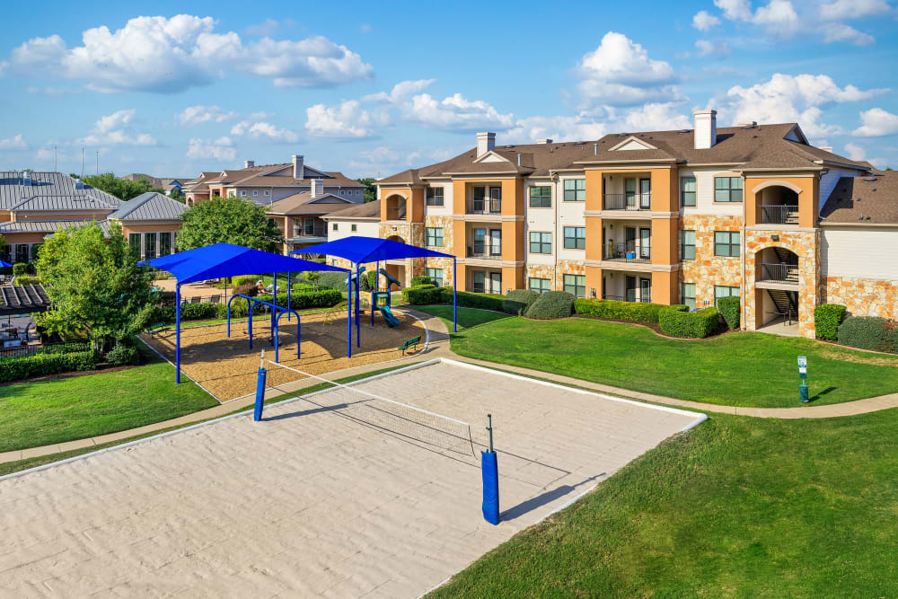 Sand Volleyball Court at Onion Creek Luxury Apartments in Austin, Texas