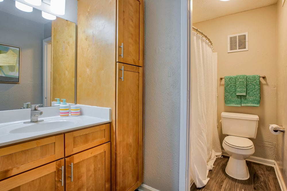 Master bathroom with ample storage at 865 Bellevue Apartments in Nashville, Tennessee