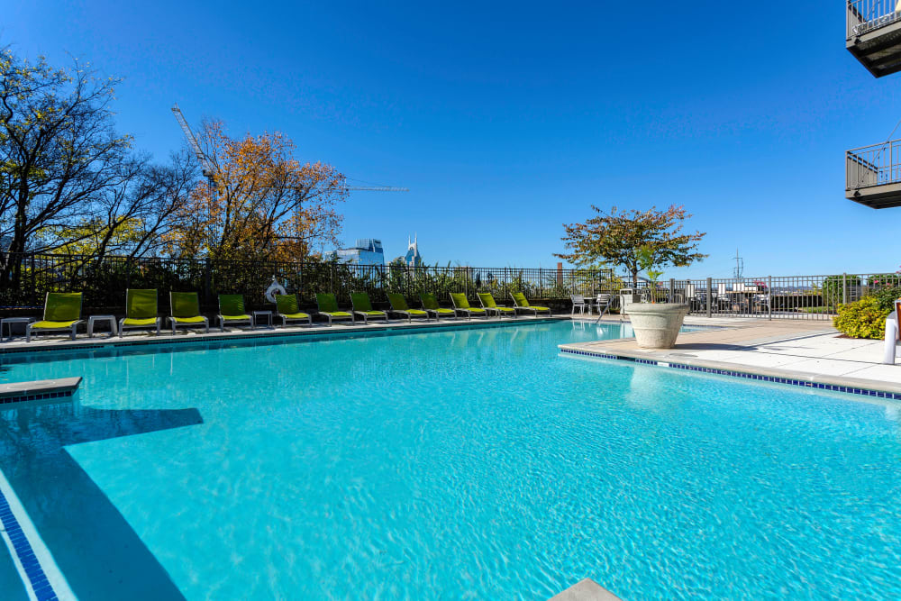 Beautiful view from the pool at City View Apartments in Nashville, Tennessee