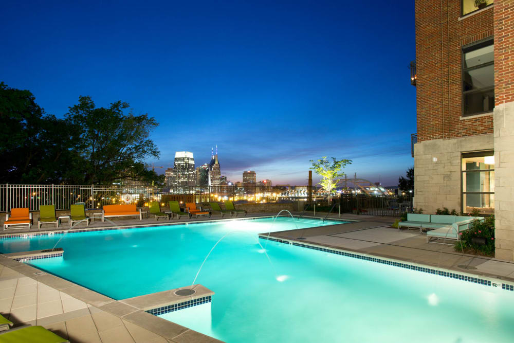 Resort style pool at City View Apartments in Nashville, Tennessee
