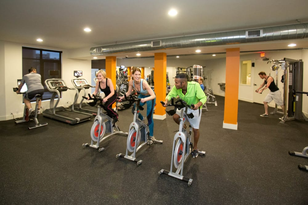 Bright clean fitness center at City View Apartments in Nashville, Tennessee