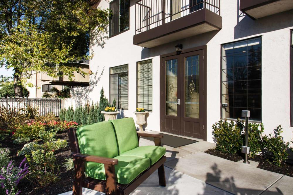 Small patio outside at Carefield Castro Valley in Castro Valley, California.