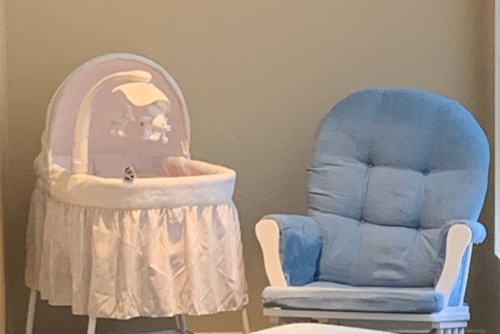Bassinet and Rocking Chair for visitors at Legacy Living Florence in Florence, Kentucky