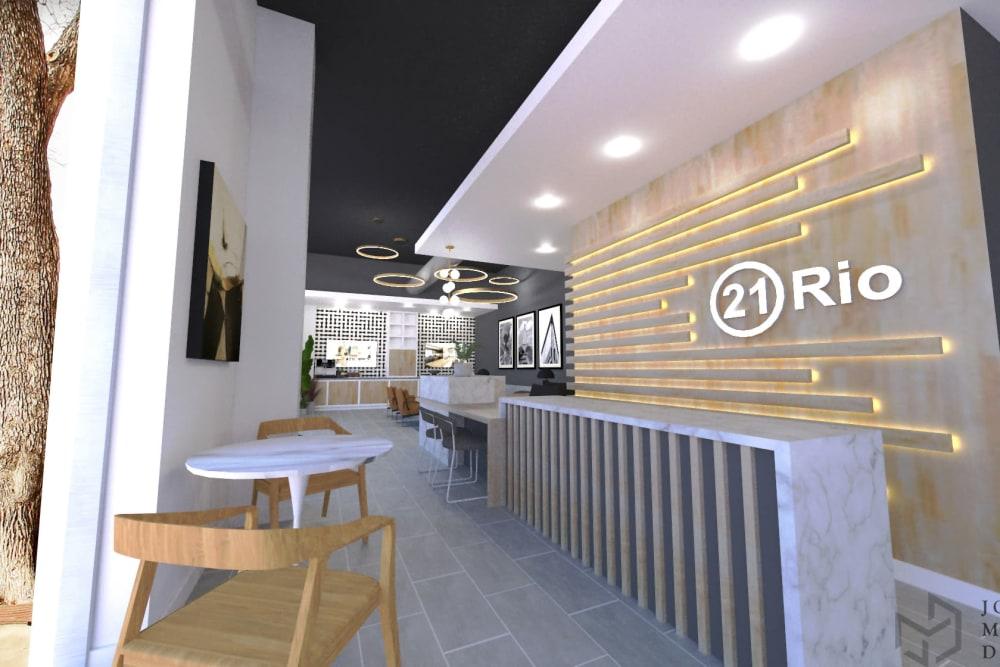 Reception desk at 21 Rio in Austin, TX