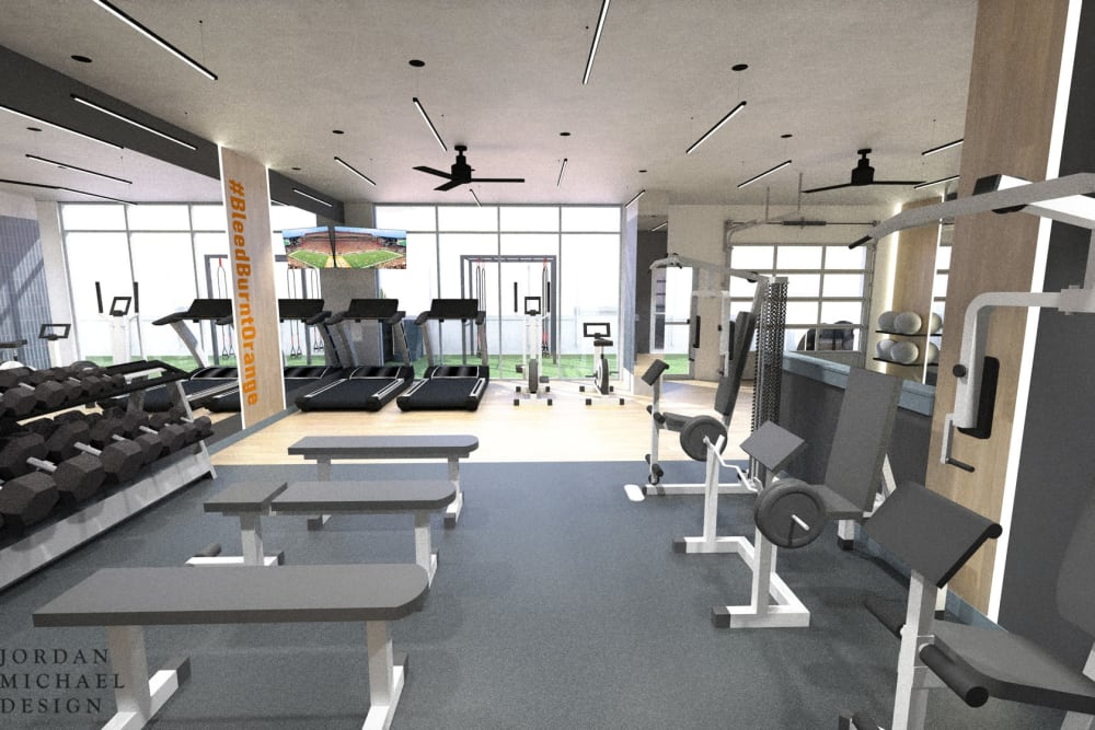 Fitness center at 21 Rio in Austin, TX