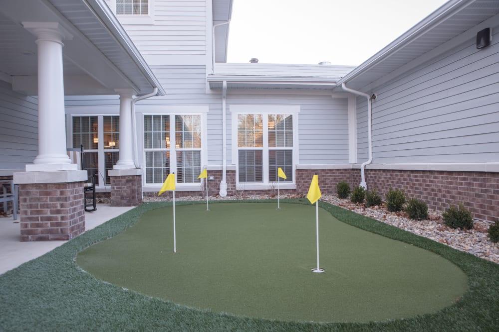 A mini golf area at Harrison Trail Health Campus in Harrison, Ohio