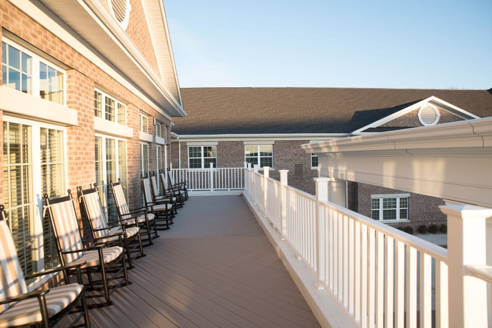 Enjoy sunshine on the deck at Harrison Trail Health Campus in Harrison, Ohio