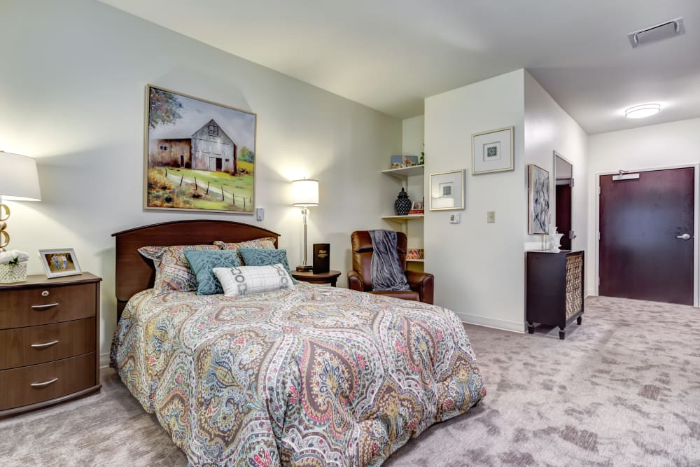 A furnished studio apartment at Norwich Springs Health Campus in Hilliard, Ohio