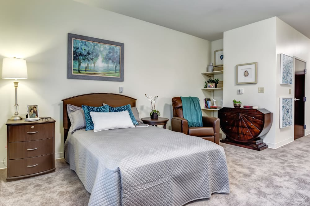 A studio apartment floor plan at Vienna Springs Health Campus in Miami Township, Ohio