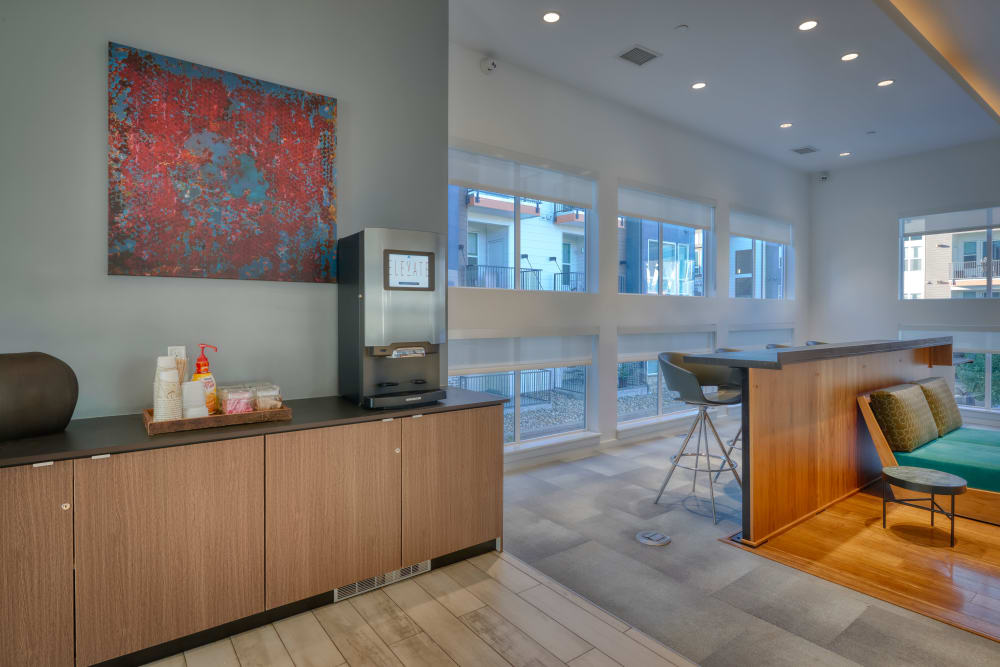 Clubhouse lounge and Coffee Station at Elevate in Englewood, Colorado