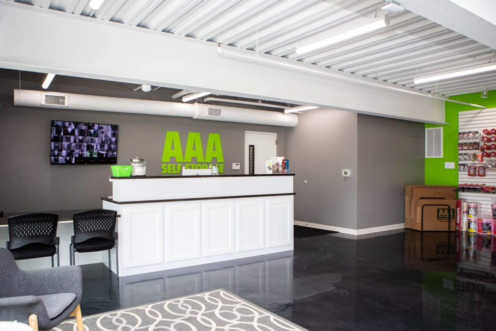 Desk in the leasing office of AAA Self Storage at Jag Branch Blvd in Kernersville, North Carolina