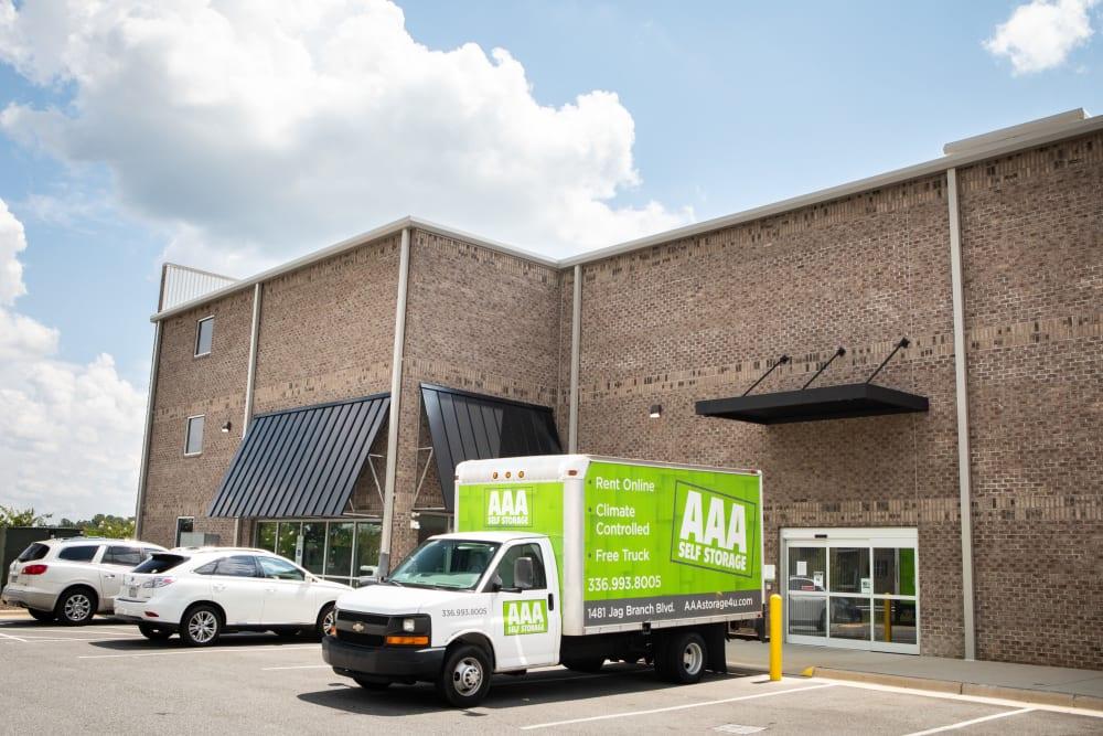 Moving truck available at AAA Self Storage at Jag Branch Blvd in Kernersville, North Carolina