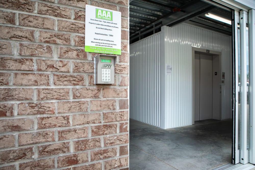 Access to self storage units in Kernersville, North Carolina at AAA Self Storage at Jag Branch Blvd