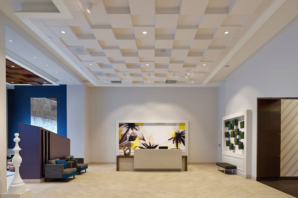 A lobby with a modern esthetic at Solaire 8250 Georgia in Silver Spring, Maryland