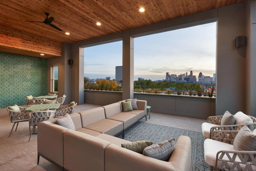 Open-air lounge on the top floor at 4600 Ross in Dallas, Texas