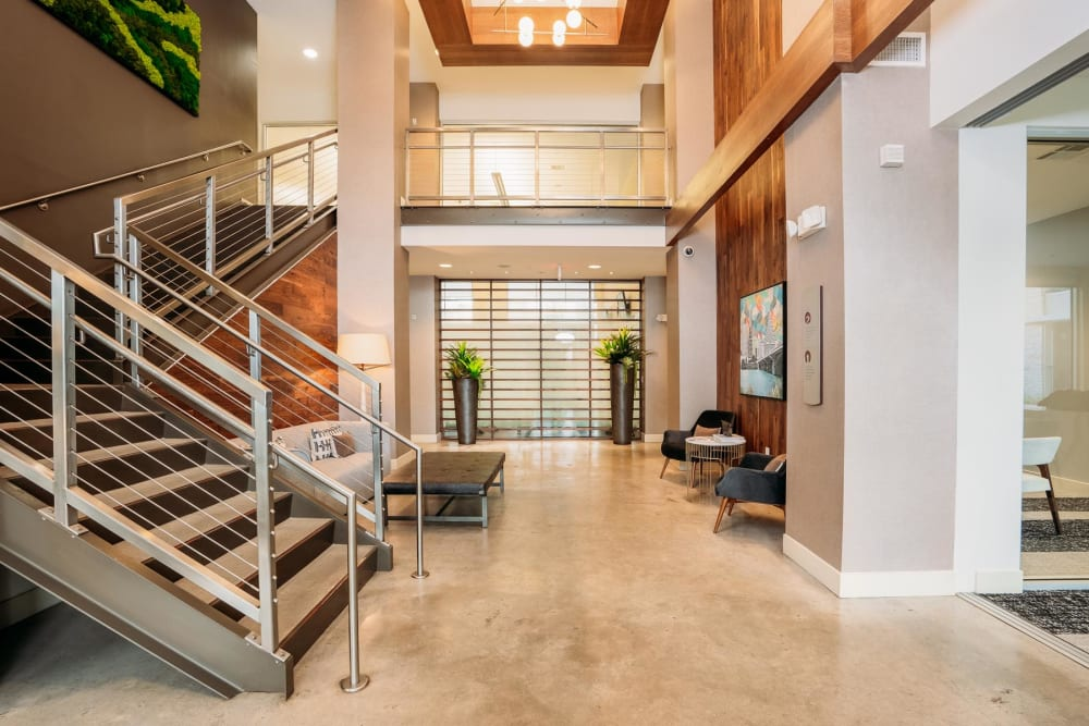 Beautifully architected lobby at Lakeshore Pearl in Austin, Texas