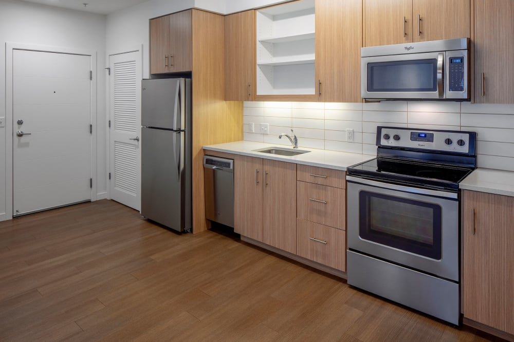 Kitchen with stainless steel appliances at Overlook Park in Portland, Oregon