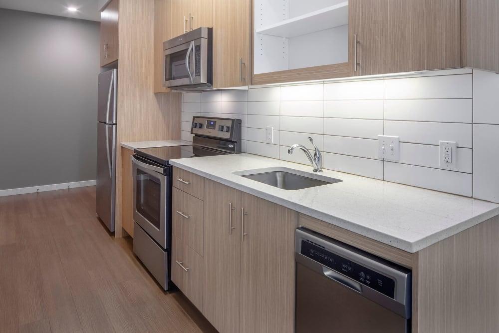 Bright, modern kitchen at Overlook Park in Portland, Oregon