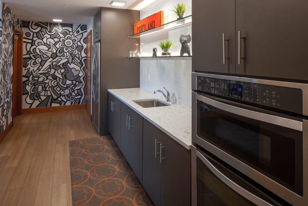 Community kitchen for resident at Overlook Park in Portland, Oregon