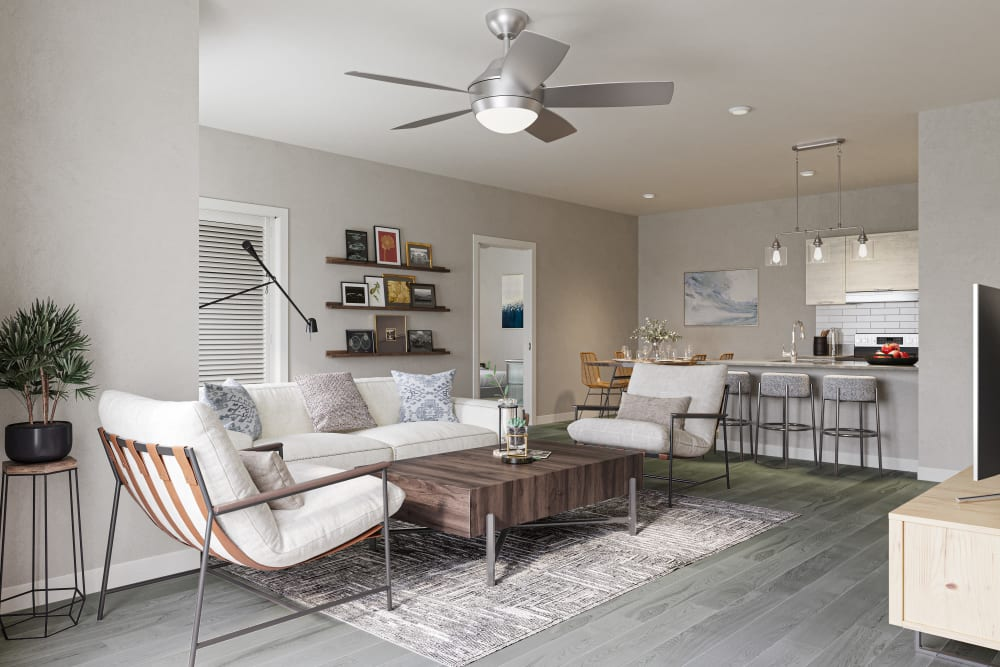 A spacious apartment living room at Chelsea Park West in Traverse City, Michigan