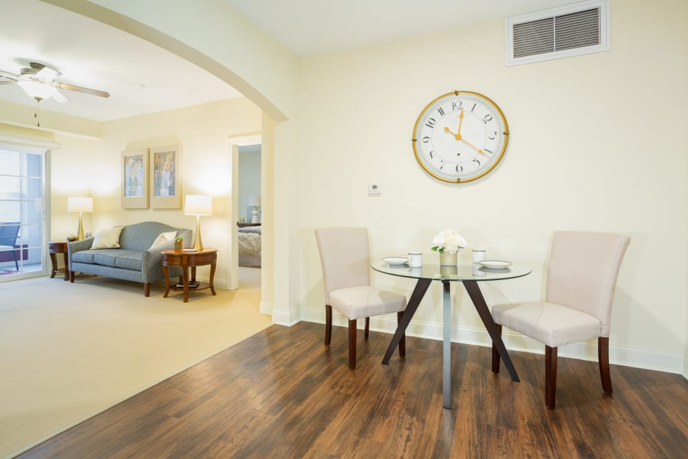 A view of a living and dining room at Harmony at West Shore in Mechanicsburg, Pennsylvania