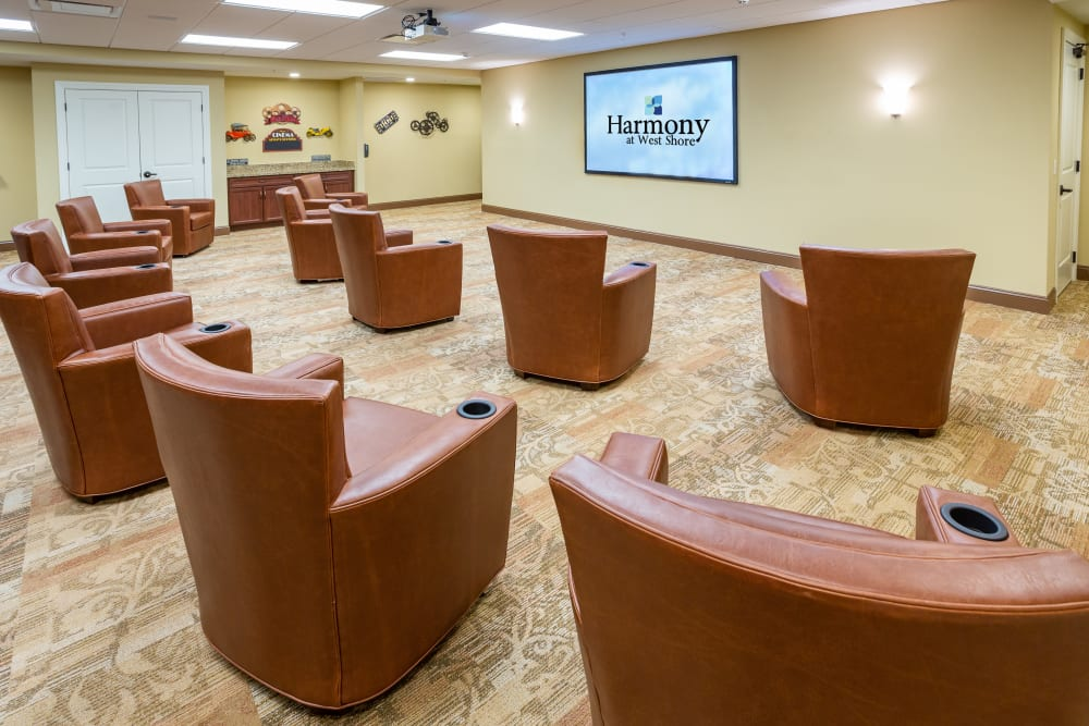 Spacious movie theater at Harmony at West Shore in Mechanicsburg, Pennsylvania