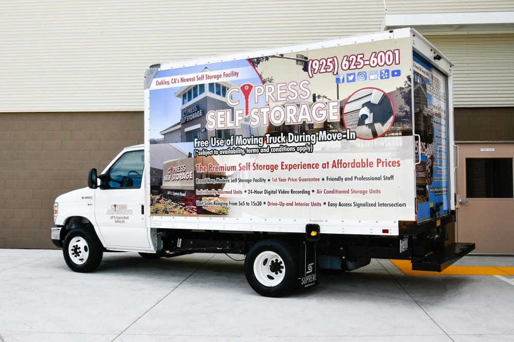 Free moving truck at Cypress Self Storage in Oakley, California