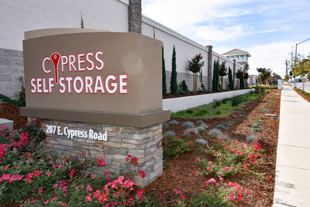 Sign at Cypress Self Storage in Oakley, California