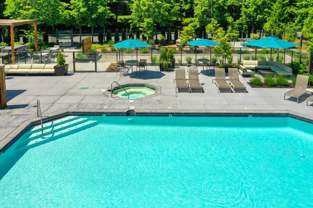 Poolside seating at Brookside Village in Auburn, Washington