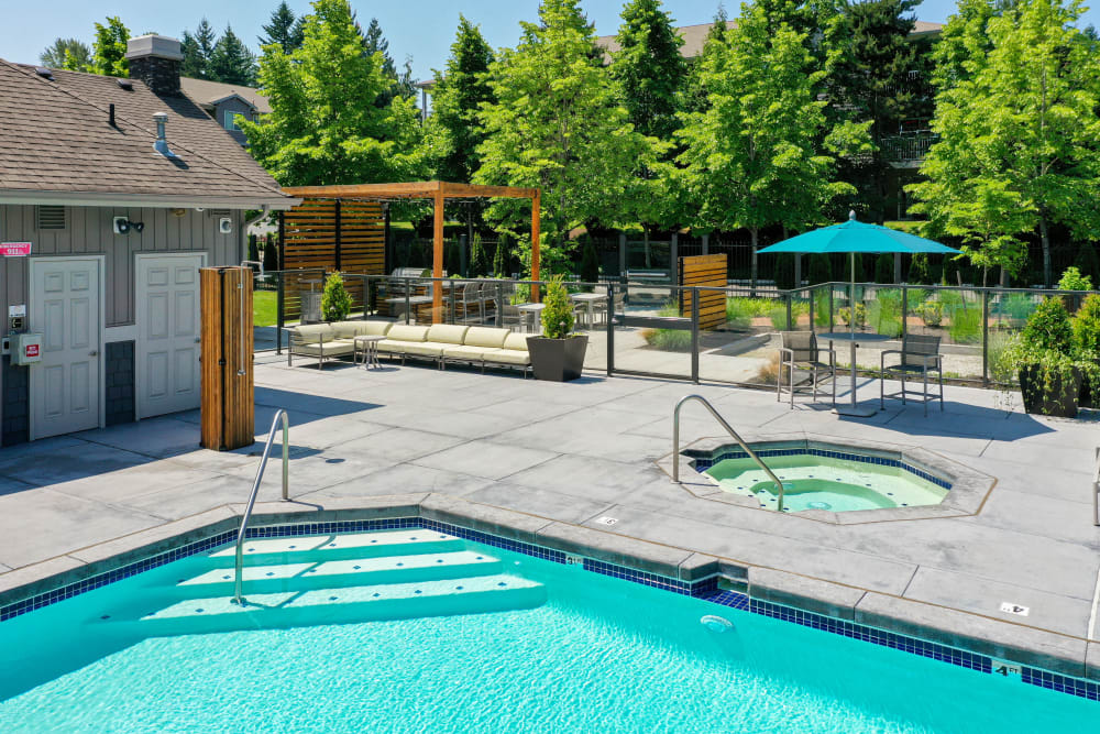 The community pool and spa at Brookside Village in Auburn, Washington