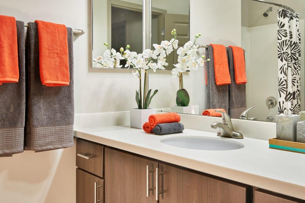 A bright renovated bathroom at Brookside Village in Auburn, Washington