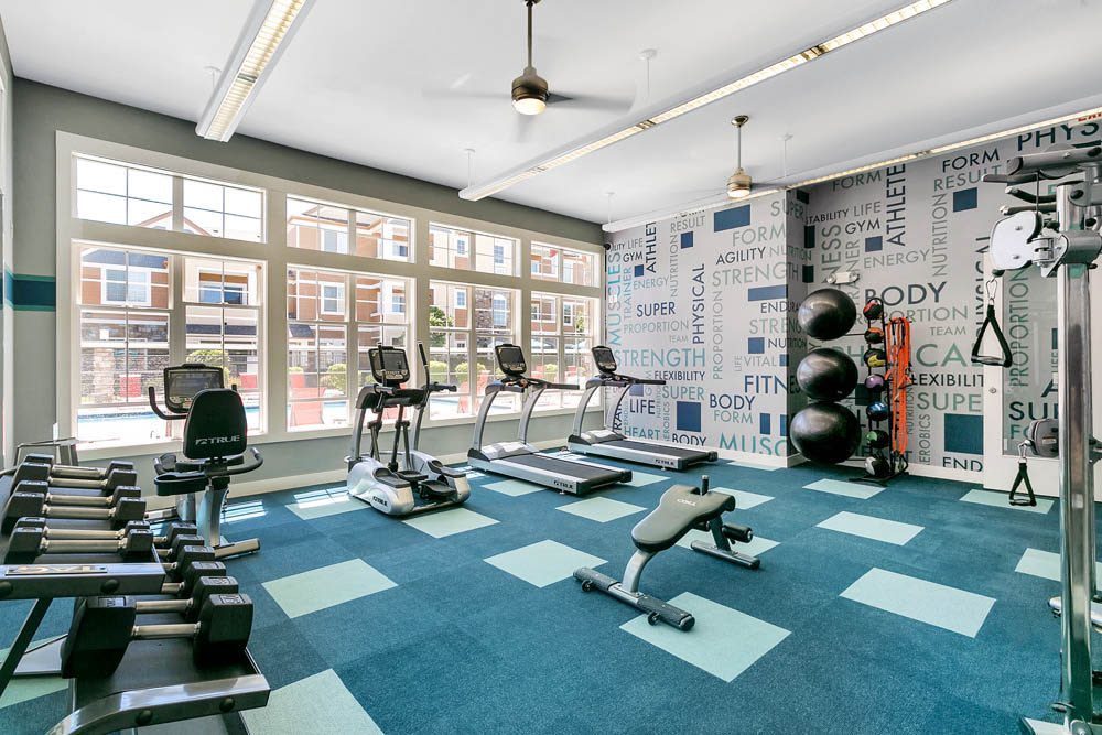 Clean, modern community gym at Crestone Apartments in Aurora, Colorado