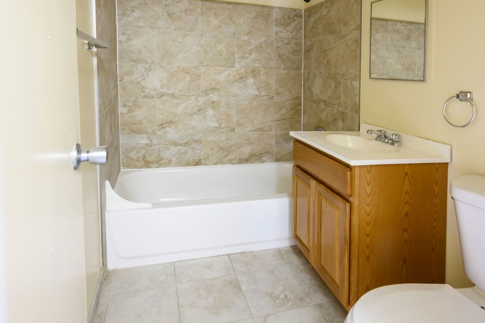 Large shower and tub at Riverview Gardens in Passaic, New Jersey