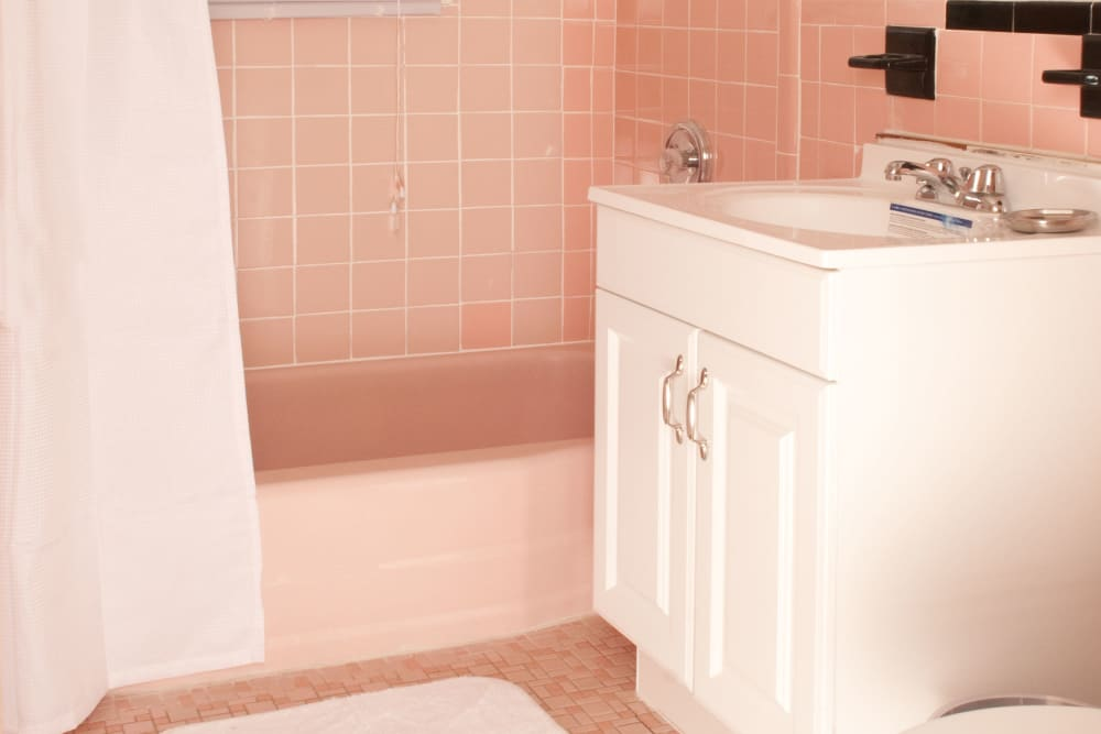 Shower and sink in bathroom at Rosehill Gardens in Elizabeth, New Jersey