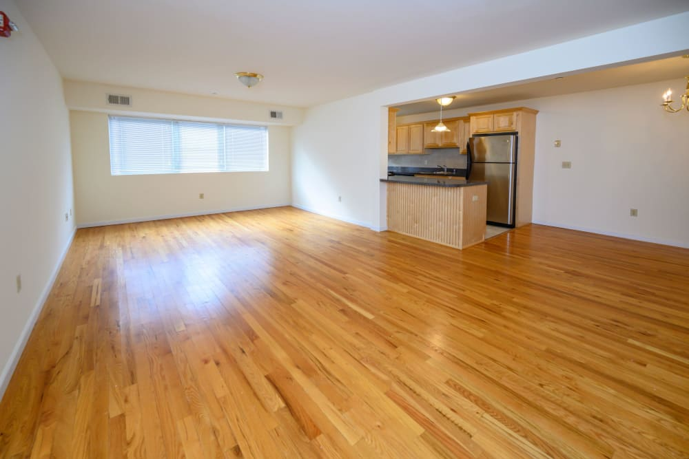 Spacious living room at Rutgers Court Apartments in Belleville, New Jersey