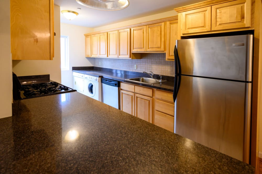 Stainless-steel appliances in model apartment home at Rutgers Court Apartments in Belleville, New Jersey