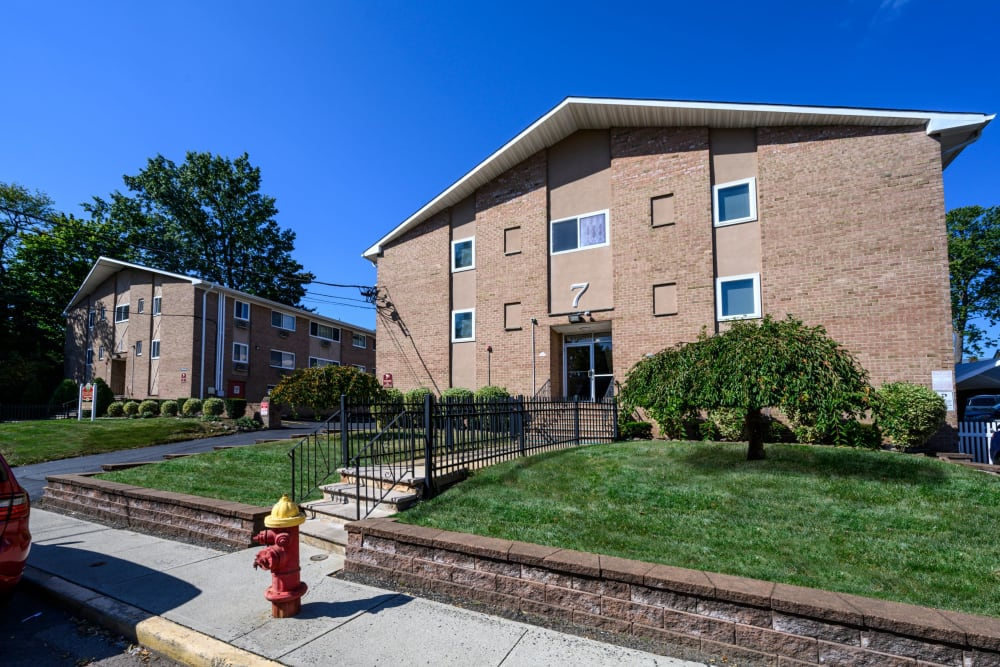 Front entrance to Rutgers Court Apartments in Belleville, New Jersey