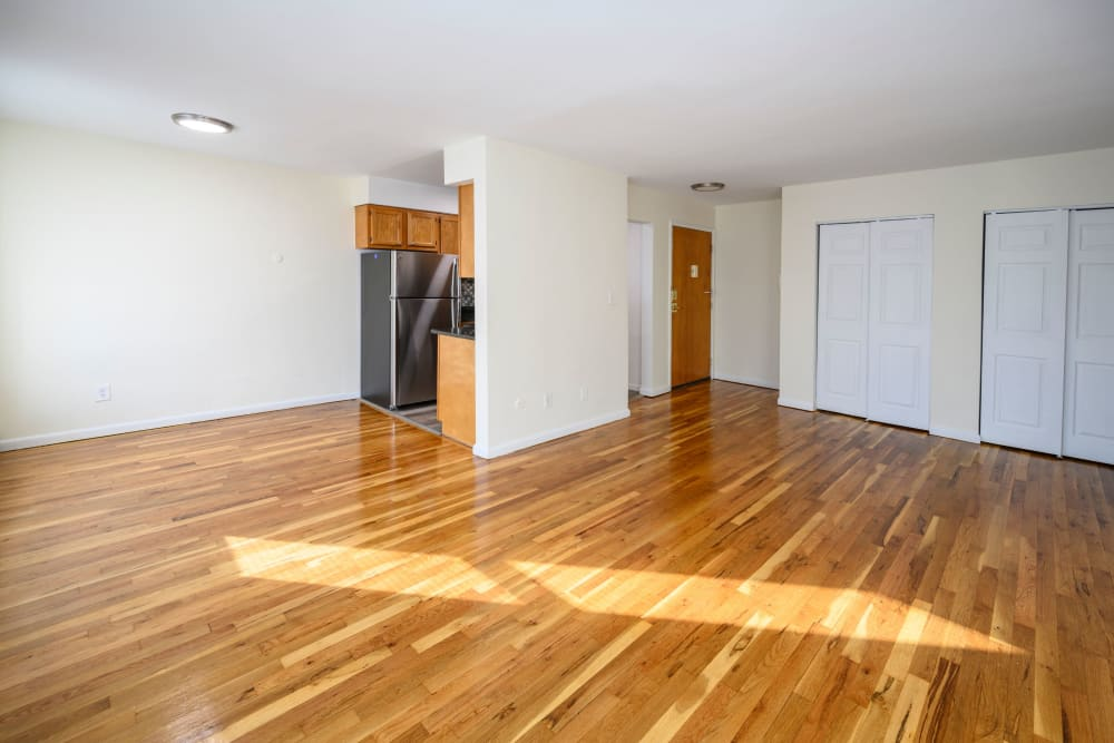 Hardwood flooring in model apartment at State Gardens in Hackensack, New Jersey