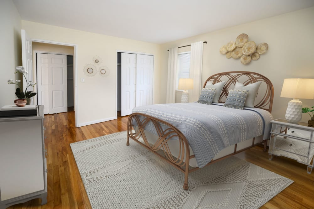 Model bedroom at State Gardens in Hackensack, New Jersey