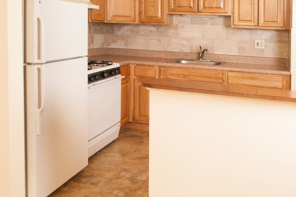 Spacious kitchen at Villager Apartments in Irvington, New Jersey