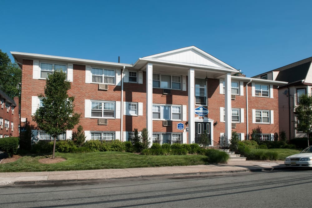 Front entrance to Villager Apartments in Irvington, New Jersey