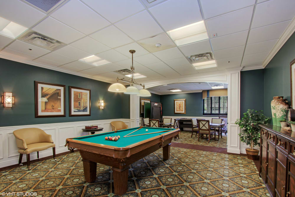 Game room at Barkley Place in Fort Myers, Florida.