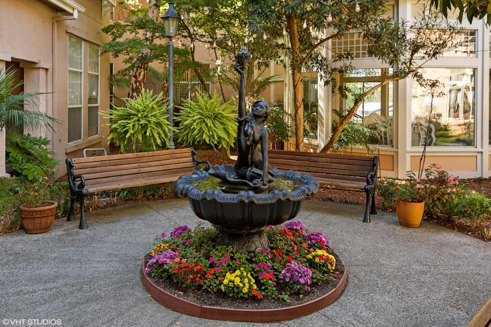 The fountain at Sunshine Villa in Santa Cruz, California.
