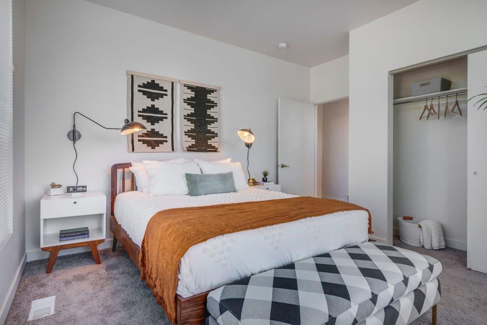 Spacious bedroom with plush carpeting at Hawthorne Townhomes in South Salt Lake, Utah
