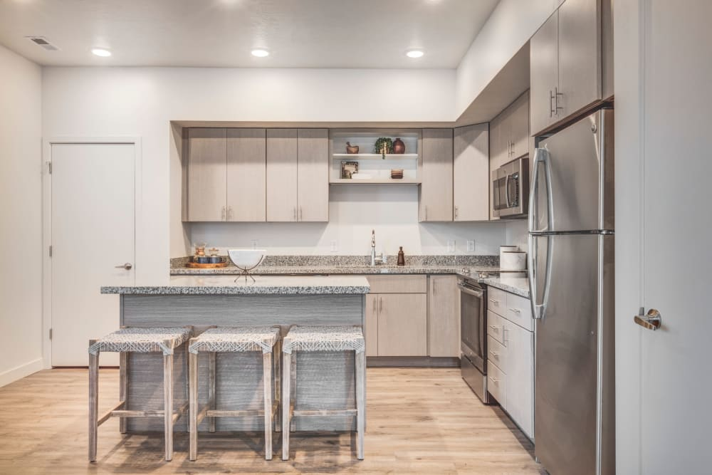 Kitchen with plenty of cabinet space at Hawthorne Townhomes in South Salt Lake, Utah