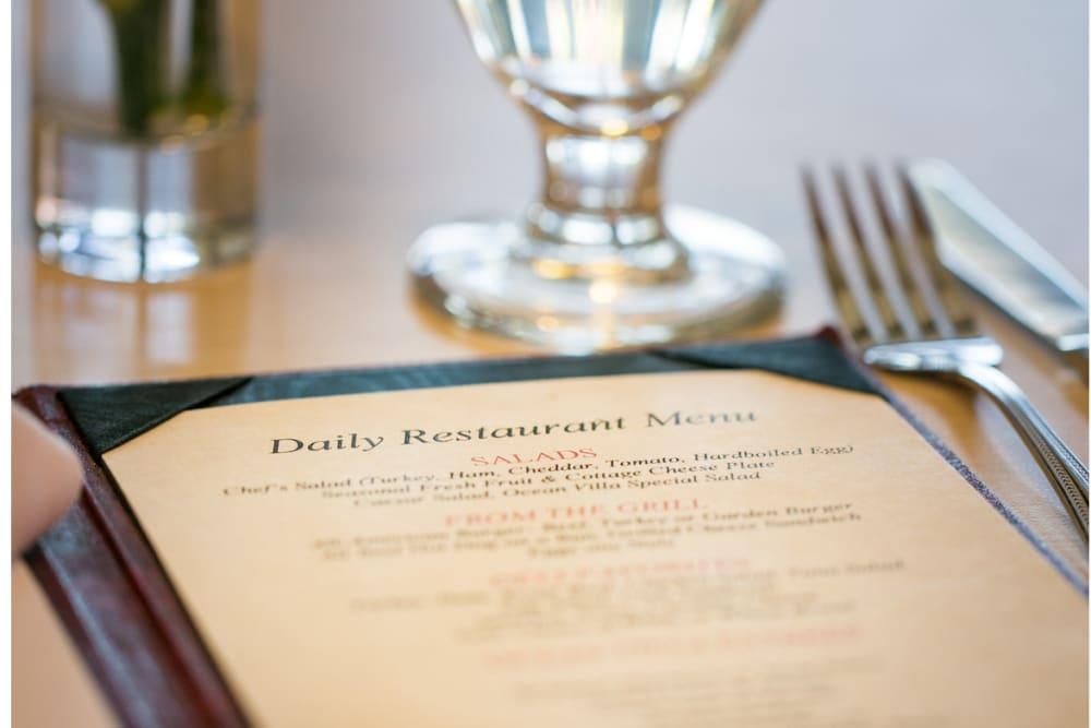 Dinner menu at the Meridian at Ocean Villa
